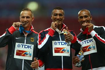 The decathlon medal ceremony at the IAAF World Championships Moscow 2013 (Getty Images)