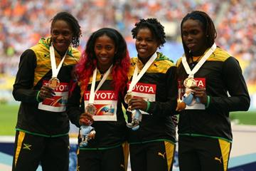 Womens Jamaican Team in the 4x100m Relay Medal Ceremony at the IAAF World Athletics Championships Moscow 2013 (Getty Images)