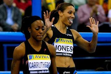 Lolo Jones celebrates her world leading mark in the 60m Hurdles in the AVIVA GP (Getty Images)