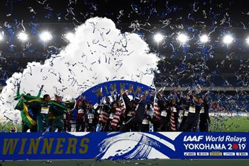 The winners parade at the IAAF World Relays Yokohama 2019 (Getty Images)