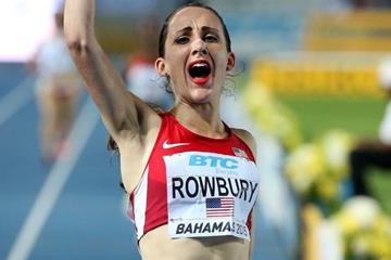 Shannon Rowbury, USA, after the women's distance medley relay at the IAAF/BTC World Relays, Bahamas 2015 (Getty Images)