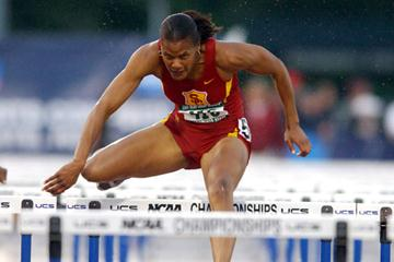 Virginia Powell (USC) sets a new PB of 13.73 at the NCAA champs (Kirby Lee)