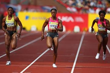 Carmelita Jeter en route to her dominating victory in Gateshead (Getty Images)