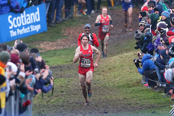 Garrett Heath pulls away from Mo Farah at the Great Edinburgh X Country (Getty Images)