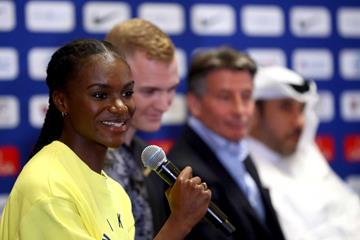 Dina Asher-Smith at the pre-meet press conference in Doha (Getty Images)