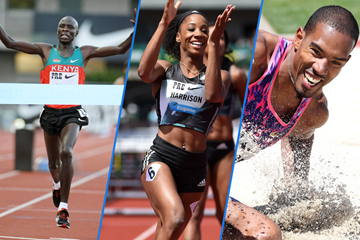 Moses Mosop, Kendra Harrison and Christian Taylor in Eugene ()