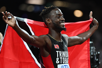 Jereem Richards after finishing third in the 200m at the IAAF World Championships London 2017 (AFP / Getty Images)