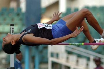 Bobby Aloysius jumps 1.91 in Chennai, India (Krishnan)