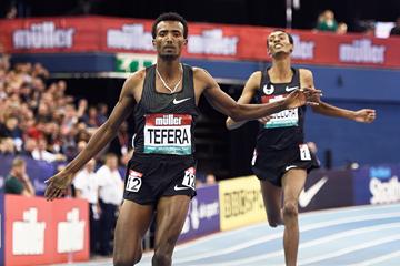 Samuel Tefera wins the 1500m at the IAAF World Indoor Tour meeting in Birmingham (Mark Shearman)