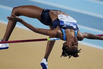 Chaunte Howard Lowe of the United States competes in the Women's High Jump qualification during day one (Getty Images)