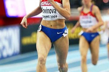 Mariya Savinova (RUS) wins the 2009 European Indoor title in Turin (Getty Images)