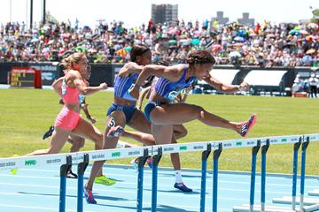 Sharika Nelvis on her way to winning the 100m hurdles at the IAAF Diamond League meeting in New York (Victah Sailer)