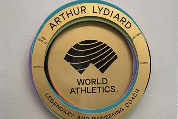 World Athletics Heritage Plaque honouring Arthur Lydiard on display at the National Training Centre at AUT Millennium in Auckland (Athletics NZL)