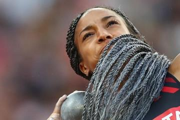 Nafi Thiam in the heptathlon shot put at the IAAF World Championships London 2017 (Getty Images)