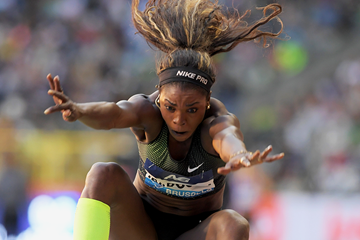 Caterine Ibarguen in the long jump at the IAAF Diamond League final in Brussels (Gladys Chai von der Laage)