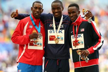 Mens Triple Jump Medal Ceremony at the IAAF World Athletics Championships Moscow 2013 (Getty Images)