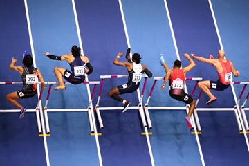 The men's 60m hurdles at the IAAF World Indoor Championships Birmingham 2018 (Getty Images)