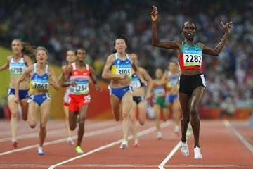 Nancy Lagat takes a surprise gold medal in the women's 1500m (Getty Images)