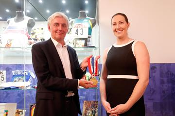 Czech Athletics Federation President Libor Varhanik and Jana Pittman at the IAAF Heritage Exhibition in Ostrava (Getty Images)