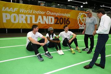 IAAF President Sebastian Coe (right), Harry Marra and participants in the 'On Camp with the IAAF' (Getty Images)
