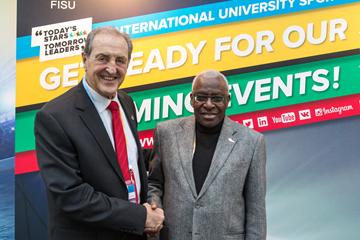 IAAF President Lamine Diack meets with FISU President Claude-Louis Gallien (IAAF / FISU)