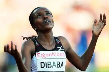 Tirunesh Dibaba crosses the line in Oslo in a new world 5000m record (Getty Images)