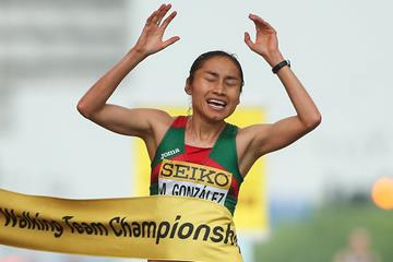 Maria Guadalupe Gonzalez wins the women's 20km race walk at the IAAF World Race Walking Team Championships Taicang 2018 (Getty Images)