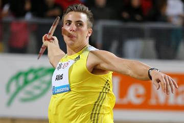 Sweden's Kim Amb wins the Javelin at the 2013 IAAF Diamond League meeting in Lausanne (Gladys Chai)