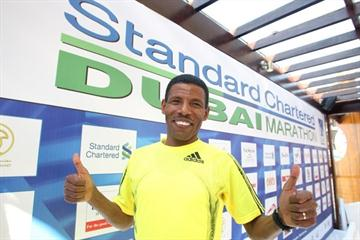 Haile Gebrselassie at the pre-race press conference for the 2010 Dubai Marathon (Victah Sailer)