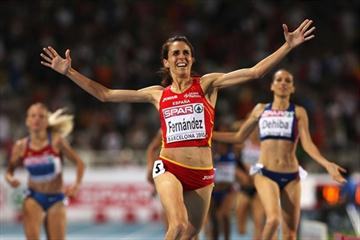 Bringing down the house in Barcelona - Nuria Fernandez takes the European 1500m title (Getty Images)