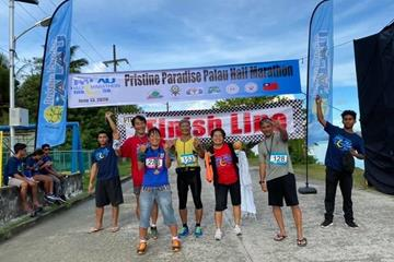 Finishers at the Palau Half Marathon (Palau Track and Field Association)