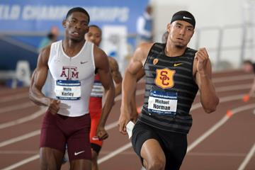 Michael Norman en route to the world indoor 400m record at the NCAA Indoor Championships (Kirby Lee)