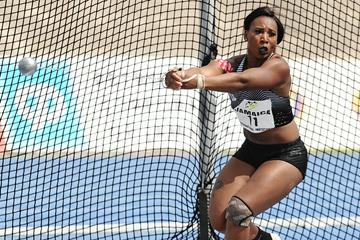Gwen Berry at the 2016 IAAF World Challenge meeting in Kingston (Errol Anderson)