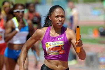 Allyson Felix at the 2011 Mt. SAC Relays (Kirby Lee)