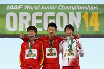 Long jump medallists Wang Jianan, Lin Qing and Shotaro Shiroyama at the IAAF World Junior Championships, Oregon 2014 (Getty Images)
