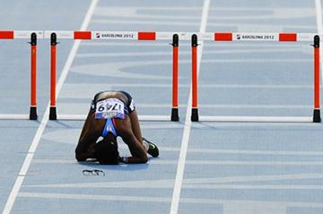 Shamier Little of United States reacts dejected after falling on the Women's 400 metres Hurdles Final on the day five of the 14th IAAF World Junior Championships in Barcelona on 14 July 2012 (Getty Images)