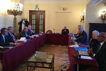 Vadim Bayramov (ICC), Gennady Aleshin (ICC chairman), Vadim Zelichenok (Acting President of ARAF), Mikhail Butov (General Secretary of ARAF), Jonathan Taylor (Legal Counsel to the IAAF Taskforce), Geoff Gardner (IAAF Taskforce), Anna Riccardi (IAAF Taskforce), Rune Andersen (IAAF Taskforce chairman), Abby Hoffman (IAAF Taskforce), Frank Fredericks (IAAF Taskforce) (IAAF)