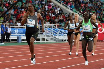 Caster Semenya in the 800m at the IAAF Diamond League meeting in Rabat (Kirby Lee)