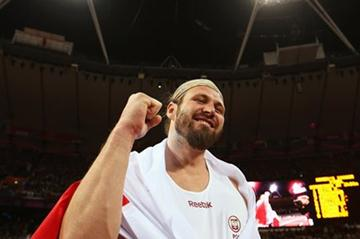 Tomasz Majewski of Poland celebrates victory in the Men's Shot Put Final on Day 7 of the London 2012 Olympic Games at Olympic Stadium on August 3, 2012 (Getty Images)