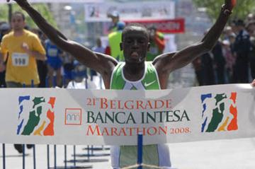 William Kipchumba winning in Belgrade (Belgrade Marathon organisers)