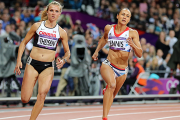 Brianne Theisen and Jessica Ennis in the heptathlon 200m at the London 2012 Olympic Games (Getty Images)