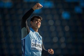 Neeraj Chopra of India during the men's javelin final at the IAAF World U20 Championships Bydgoszcz 2016  (Getty Images)