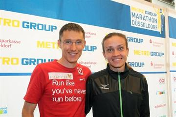 Gunther Weidlinger and Natalya Volgina at the Metro Group Marathon Düsseldorf pre-race press conference (Victah Sailer)