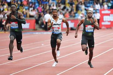 Christian Coleman in the 100m at the IAAF Diamond League meeting in Birmingham (AFP / Getty Images)