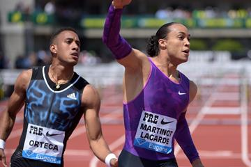 Pascal Martinot-Lagarde at the 2015 IAAF Diamond League in Eugene (Kirby Lee)