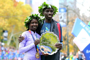 Mary Keitany and Stanley Biwott after winning the New York City Marathon titles (Getty Images)