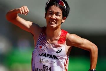 Japan's Daisuke Matsunaga wins the 10,000m race walk at the IAAF World Junior Championships, Oregon 2014 (Getty Images)