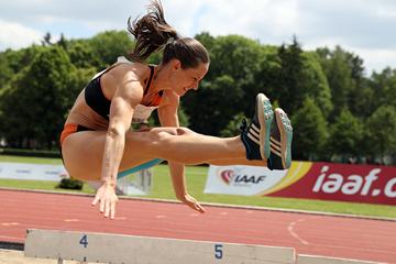 Katerina Cachova in the heptathlon long jump at the TNT Express meeting in Kladno (Jan Kucharcik)