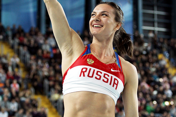 Pole vault winner Yelena Isinbayeva at the 2012 IAAF World Indoor Championships in Istanbul (Getty Images)