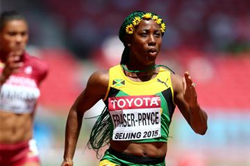 Shelly-Ann Fraser-Pryce in the 100m heats at the IAAF World Championships, Beijing 2015 (Getty Images)